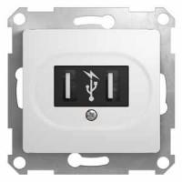 Розетка USB белый Glossa