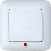 Выключатель 1 клавишный с индикатором белый Прима
