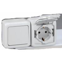 Bыключатель+Розетка 2X2P+Е 16А со шторкоками серый IP 44 Quteo