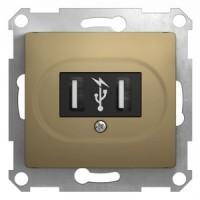 Розетка USB титан Glossa