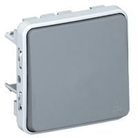 Выключатель/переключатель 1 клавишный встраиваемый 10A, серый IP 55  Plexo