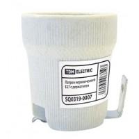 Патрон Е27 керамический с держателем (контакты медь)