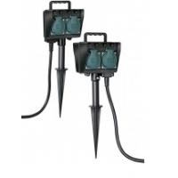 Удлинитель 4 розетки, 10 м, 16 А, IP44, зелено-черный, со штырем