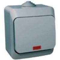 Выключатель 1 клавишный с подсветкой IP44 серый Этюд