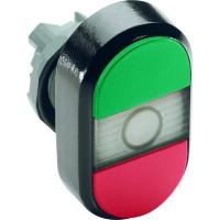 Кнопка двойная (зеленая/красная) прозрачная линза без текста тип MPD1-11С
