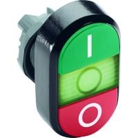 Кнопка двойная (зеленая/красная) зеленая линза с текстом (I/O) тип MPD2-11G