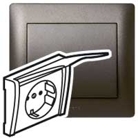 Накладка  для розетки 2Р+Е с крышкой темная бронза Galea Life