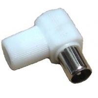 Разъем штекер TV угловой, без пайки, белый, IEC