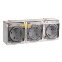 Розетка брызгозащищённая прозрачная 3-х местная 16А РСб23-3-ГБ IP44