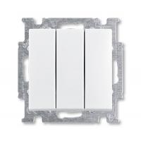 Выключатель 3-клавишный альпийский белый Basic 55