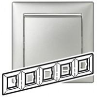 Pамка 5 постов алюминий/серебрянный штрих Valena