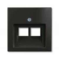 Накладка для розетки двойной телефонной/компьютерной шато черный Basiс 55