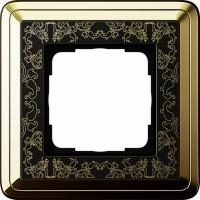 Рамка 1 пост латунь/черный CassiX Art