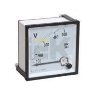 Вольтметр аналоговый панельный прямого включения  для измерения напряжения переменного тока со шкалой до 500В 72х72 мм серия Э47