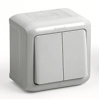 Bыключатель 2 клавишный серый IP 44 Quteo