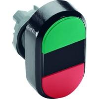 Кнопка двойная MPD4-11B (зеленая/красная) непрозрачная черная линза с текстом (START/STOP)