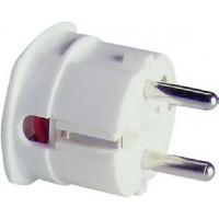 Вилка с заземлением белая термопласт угловая 16А 250В