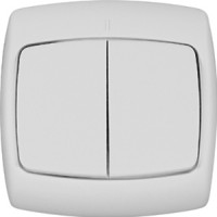 Выключатель 2 клавишный белый РОНДО (уп. 90 шт)