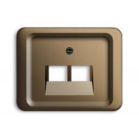 Накладка 2 телефонной/компьютрной розетки (0215, 0217) бронза alpha