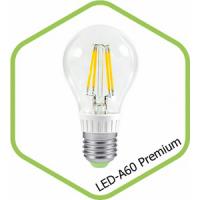 Лампа светодиодная LED A60 PREMIUM 8Вт 160-260В Е27 3000К 720Лм прозрачная ASD