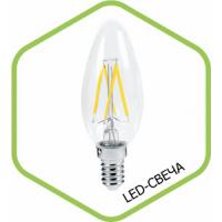 Лампа светодиодная LED СВЕЧА PREMIUM 5.0Вт 160-260В Е14 3000К 450Лм прозрачная ASD