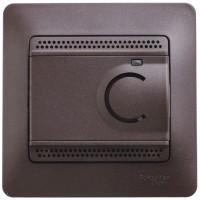 Термостат Glossa электронный для теплого пола с датчиком 10А в сборе шоколад SchE