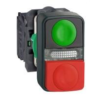 Кнопка двойная зеленая утопленная красная  выпуклая с маркировкой 22 мм 1НО+1НЗ со встроенной белой LED подсветкой 24В с в