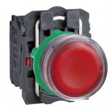 Кнопка красная 22 мм 1НО+1НЗ со встроенной LED подсветкой 24В с возвратом