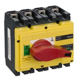 Выключатель-разъединитель 4-пол. 250А с красной ручкой INTERPACT INS250