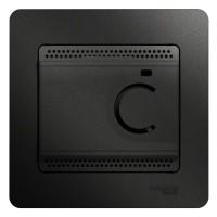 Термостат Glossa электронный для теплого пола с датчиком 10А в сборе антрацит SchE