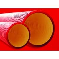 Труба жесткая двустенная для кабельной канализации д110мм,цвет красный