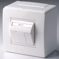 Коробка в сборе с 1 розеткой RJ45, кат.5е телефон / компьютер , белая