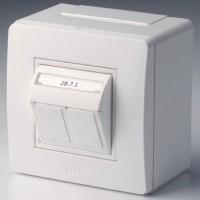 Коробка в сборе с 2 розетками RJ45, кат.5е телефон / компьютер , белая