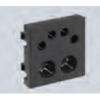 Плата для вывода кабеля торцевая 2хф13мм+4хф6мм из офиблока, черная