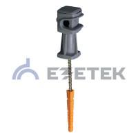 Держатель проводника круглого 6-8 мм серый, высота 36 мм, пластик с дюбелем 52 мм