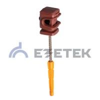 Держатель проводника круглого 6-8 мм коричневый, высота 16 мм, пластик с дюбелем 52 мм