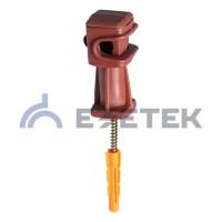 Держатель проводника круглого 6-8 мм коричневый, высота 36 мм, пластик с дюбелем 38 мм