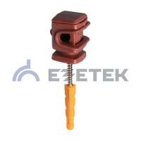 Держатель проводника круглого 6-8 мм коричневый, высота 16 мм, пластик с дюбелем 38 мм
